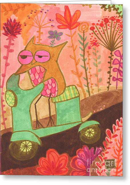 Colored Owls Greeting Cards - Great Escape Greeting Card by Kate Cosgrove