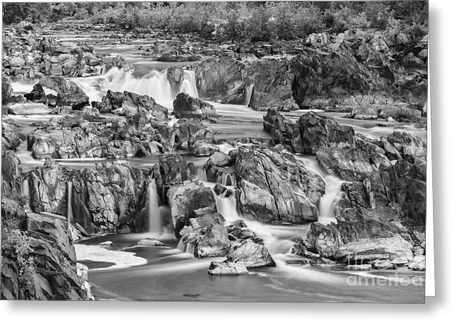 Bw Waterfalls Greeting Cards - Great Falls Park Greeting Card by Henk Meijer Photography