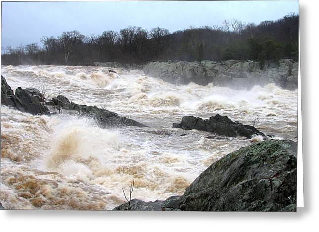 White Water Rafting Print Greeting Cards - Great Falls Torrent Greeting Card by Joshua Bales