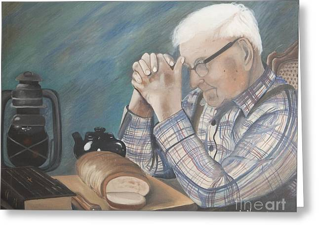 Praying Hands Paintings Greeting Cards - Great Grandpa Greeting Card by Jacqueline Athmann