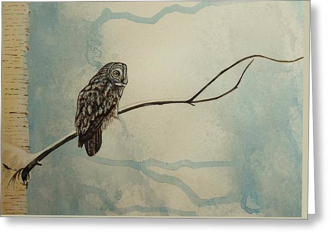 Great Gray Owl Greeting Card by Lucy Deane