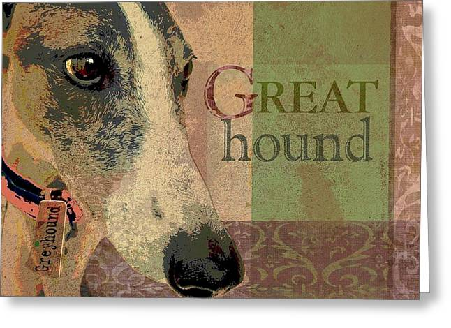 Great Greyhound Greeting Card by Wendy Presseisen