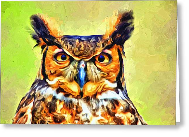 The Tiger Greeting Cards - Great Horned Owl Portrait Greeting Card by Scott Wallace