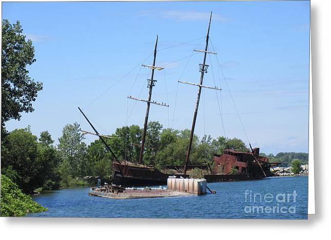 Masts Mixed Media Greeting Cards - Great Lakes Shipwreck Greeting Card by John Malone