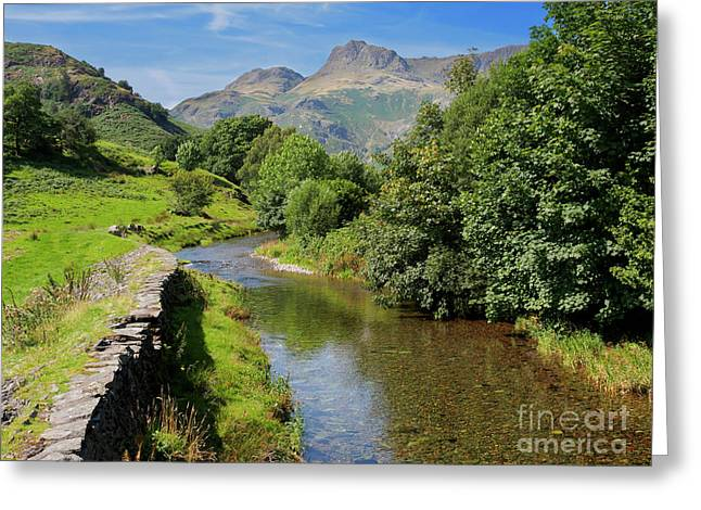 Great Langdale Beck With Harrison Stickle And Pike Of Stickle Greeting Card by Louise Heusinkveld