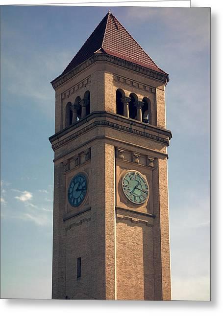 Spokane Greeting Cards - Great Northern Railway Clock Tower - Spokane Greeting Card by Daniel Hagerman