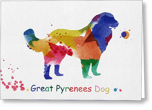 Abstract Digital Art Greeting Cards - Great Pyrenees Dog watercolor Greeting Card by Mihaela Pater