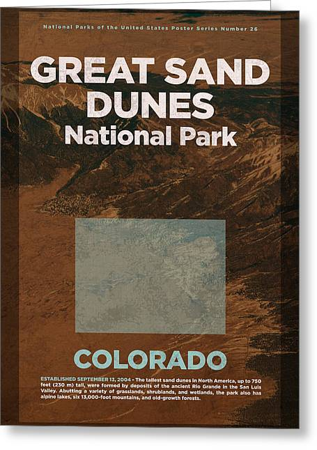 Great Sand Dunes National Park In Colorado Travel Poster Series Of National Parks Number 26 Greeting Card by Design Turnpike