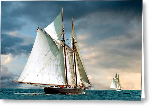 Great Schooner Race Greeting Card by Fred LeBlanc