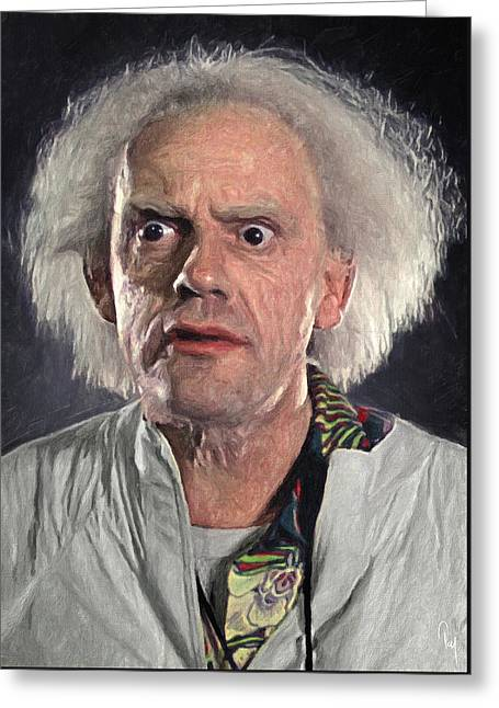 Great Scott - Doc Brown Greeting Card by Taylan Soyturk