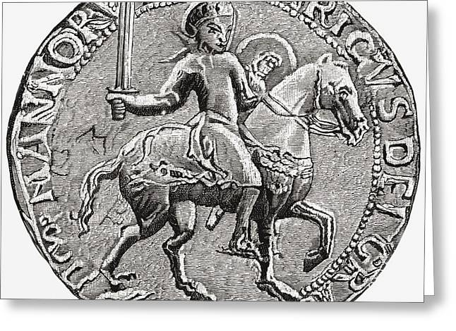 Seal Drawings Greeting Cards - Great Seal Of Henry I, C. 1068 To 1 Greeting Card by Ken Welsh