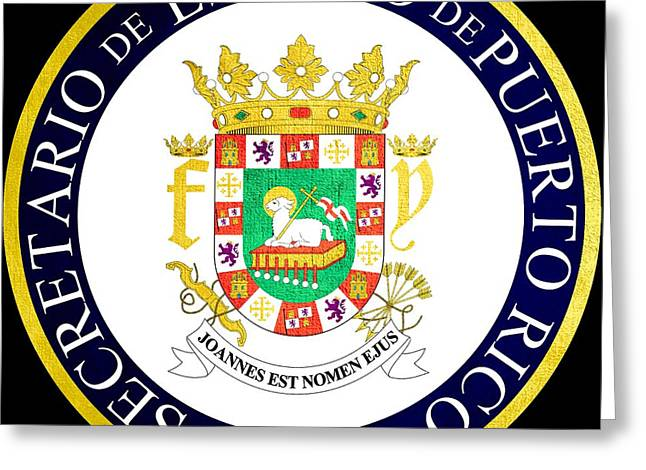 Great Seal Of Puerto Rico Greeting Card by Mountain Dreams