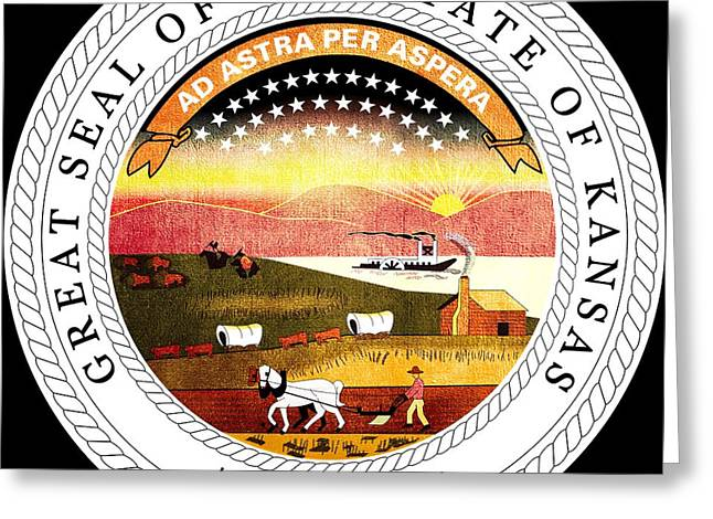 Great Seal Of The State Of Kansas Greeting Card by Mountain Dreams