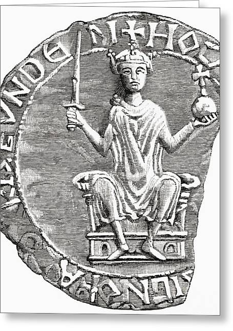 Seal Drawings Greeting Cards - Great Seal Of William The Conqueror Greeting Card by Ken Welsh