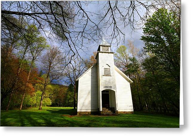 The Church Greeting Cards - Great Smoky Mountains Spring Storms Over Palmer Chapel  Greeting Card by Carol R Montoya