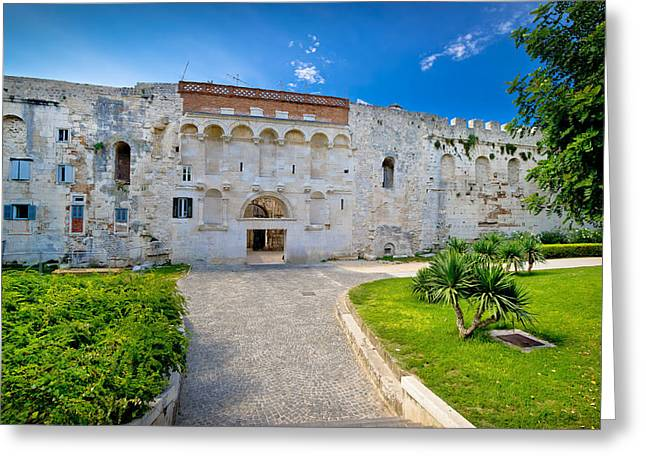 Town Square Greeting Cards - Great stone wall of old Split historic centre Greeting Card by Dalibor Brlek