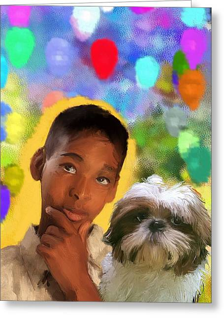 Dogs Digital Greeting Cards - Great thoughts Greeting Card by Richard Okun