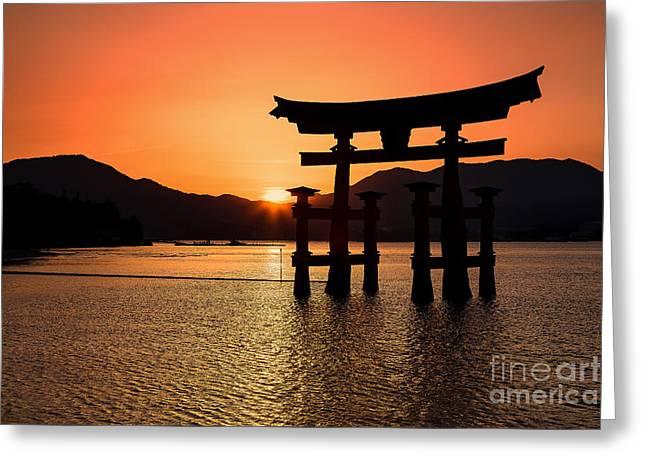 Floating Torii Greeting Cards - Great Torii Sunset- Miyajima  Greeting Card by Rhonda Krause
