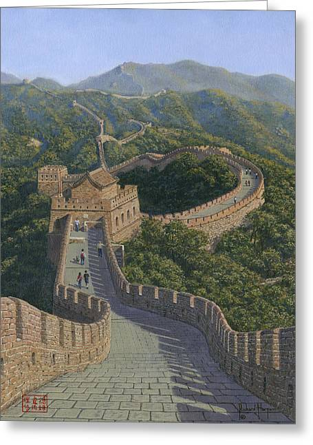 Great Wall Greeting Cards - Great Wall of China Greeting Card by Richard Harpum