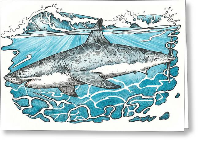 White Shark Mixed Media Greeting Cards - Great White Greeting Card by Bill Flowers