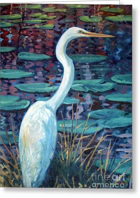 Egrets Greeting Cards - Great White Egret Greeting Card by Donald Maier