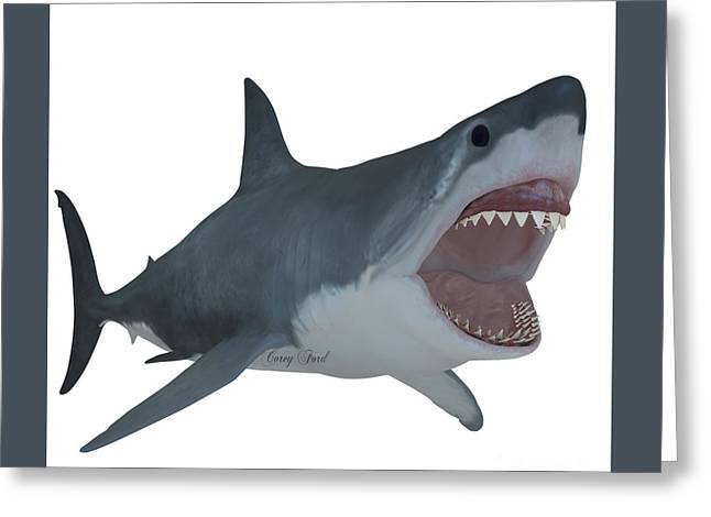 White Shark Greeting Cards - Great White Open Jaws Greeting Card by Corey Ford