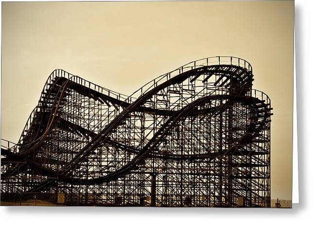 Wildwood Greeting Cards - Great White Roller Coaster - Adventure Pier Wildwood NJ in Sepia Greeting Card by Bill Cannon