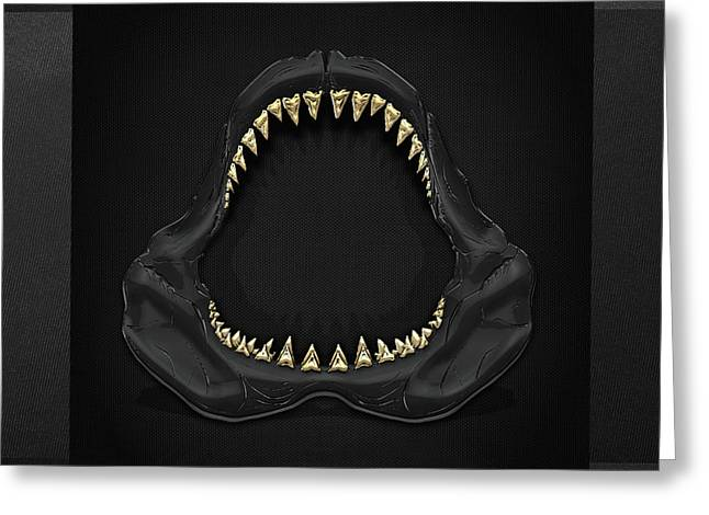 Sharks Digital Art Greeting Cards - Great White Shark - Black Jaws with Gold Teeth on Black Canvas Greeting Card by Serge Averbukh