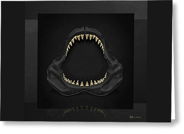 Shark Art Greeting Cards - Great White Shark - Black Jaws with Gold Teeth on Black Canvas Greeting Card by Serge Averbukh
