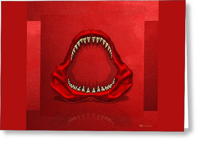 Ultra Modern Greeting Cards - Great White Shark - Red Jaws with Gold Teeth on Red Canvas Greeting Card by Serge Averbukh