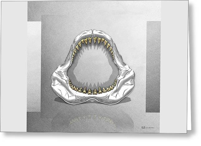 Ultra Modern Greeting Cards - Great White Shark - Silver Jaws with Gold Teeth on White Canvas Greeting Card by Serge Averbukh