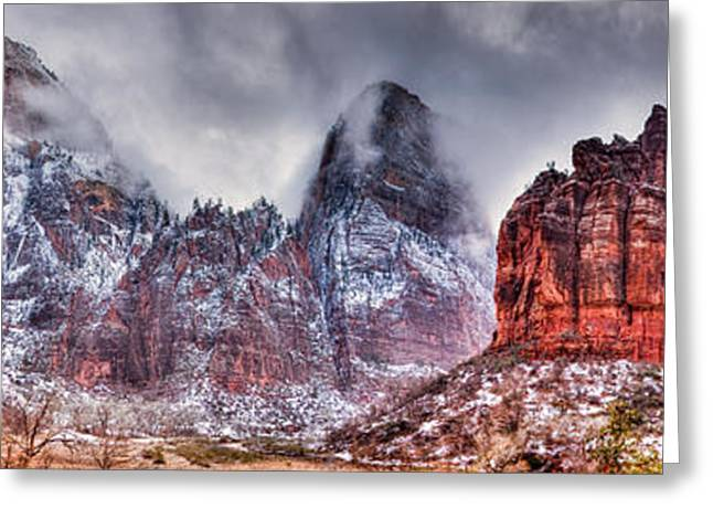Southern Utah Greeting Cards - Great White Throne of Zion Greeting Card by Irene Abdou