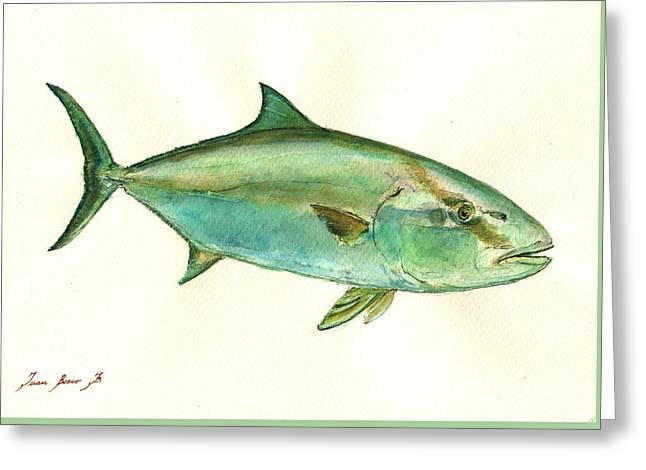 Greater Amberjack Fish Greeting Card by Juan  Bosco