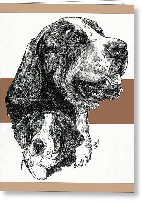 Working Dog Mixed Media Greeting Cards - Greater Swiss Mountain Dog Father and Son Greeting Card by Barbara Keith