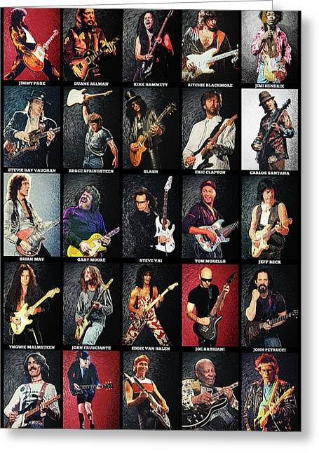 Greatest Guitarists Of All Time Greeting Card by Taylan Soyturk