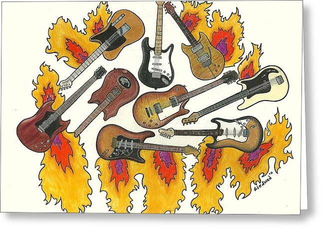Jimmy Rogers Greeting Cards - Greatest Guitars Greeting Card by Steve Weber