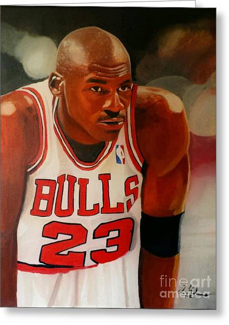 Michael Jordan Greeting Cards - Greatness part1 Greeting Card by Jason Majiq Holmes