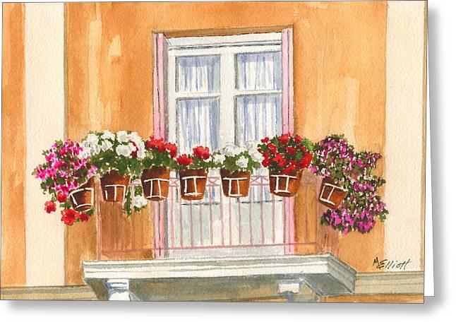 Grecian Greeting Cards - Grecian Balcony Greeting Card by Marsha Elliott