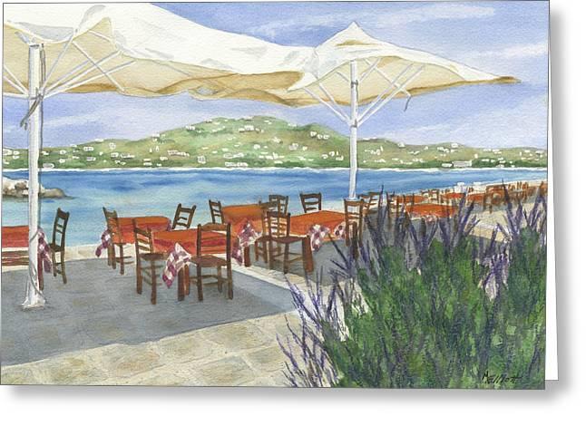 Grecian Greeting Cards - Grecian Seaside Cafe Greeting Card by Marsha Elliott