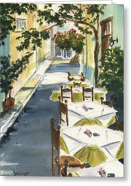 Greece Greeting Cards - Grecian Taverna Greeting Card by Marsha Elliott