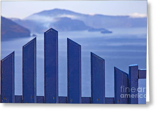 Entrance Door Greeting Cards - Greece blue gate Greeting Card by Sophie McAulay