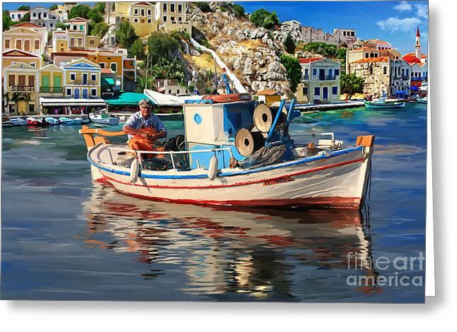 Thirasia Greeting Cards - Greece Fisherman Greeting Card by Tim Gilliland