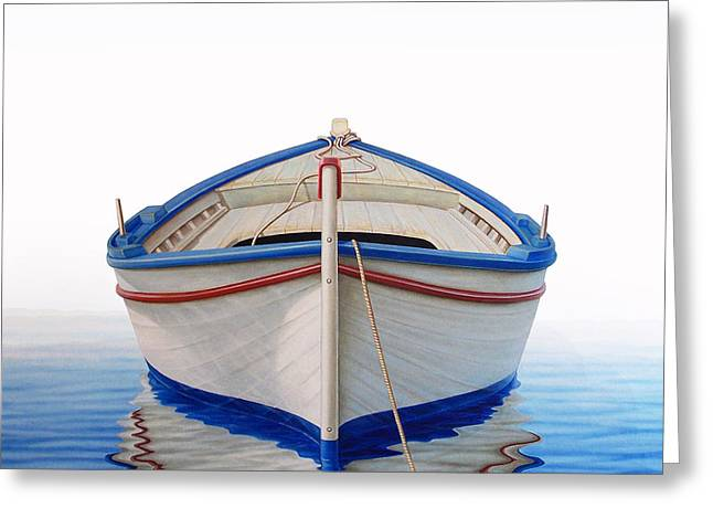 Rows Greeting Cards - Greek Boat Greeting Card by Horacio Cardozo