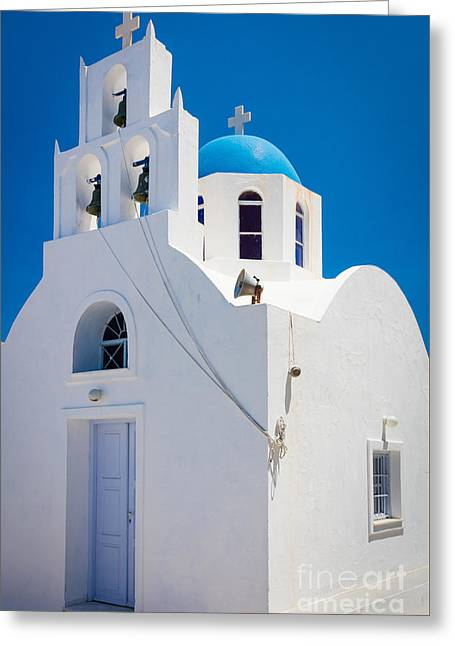 Aegean Sea Greeting Cards - Greek Chapel Greeting Card by Inge Johnsson