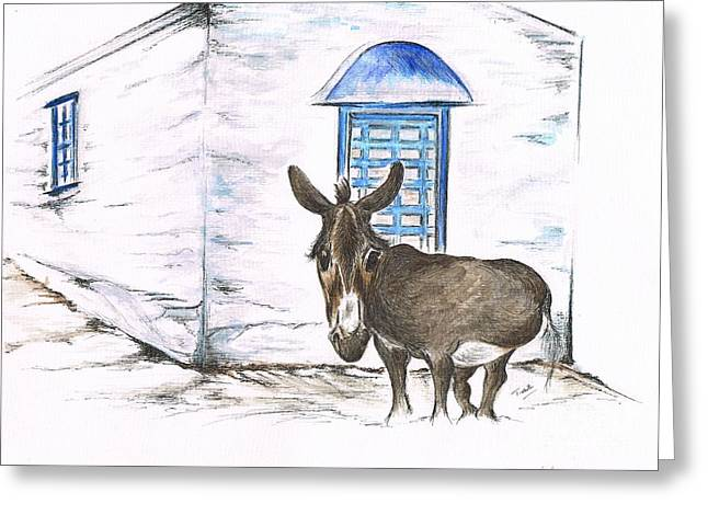 Owner Greeting Cards - Greek Donkey Greeting Card by Teresa White