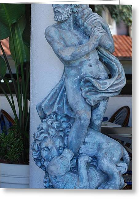 Greek Dude And Lion In Blue Greeting Card by Rob Hans