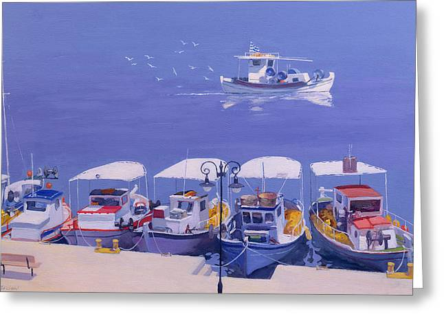 Reflecting Water Greeting Cards - Greek Fishing Boats Greeting Card by William Ireland