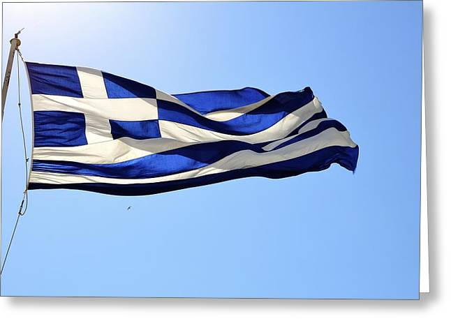 Greek Flag Greeting Card by Corinne Rhode
