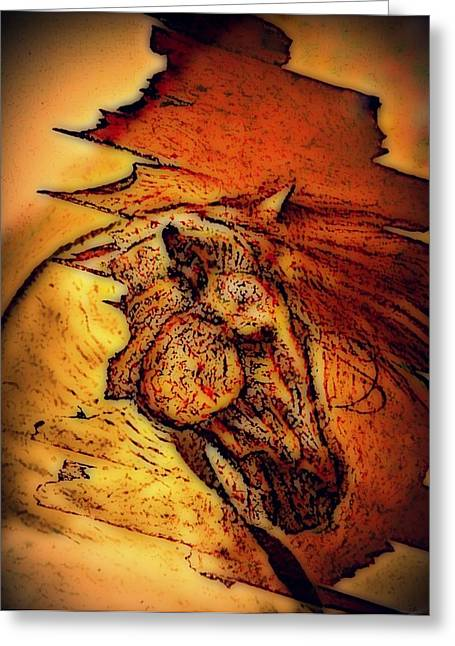Sculptural Decoration Greeting Cards - Greek Horse Greeting Card by Paulo Zerbato