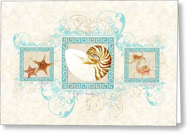Painted Image Greeting Cards - Greek Key Nautilus Starfish n Conch Shells Greeting Card by Audrey Jeanne Roberts